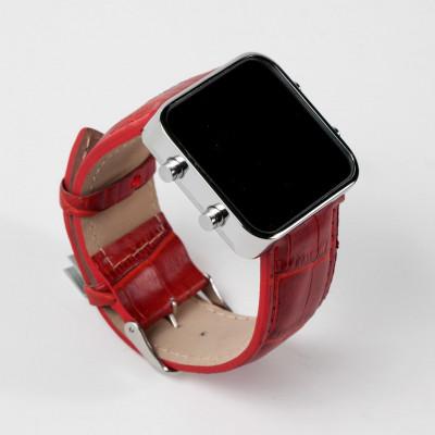 Digital Watch | Silver, Red
