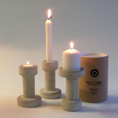 Runder dreifacher Kerzenständer   Weiß
