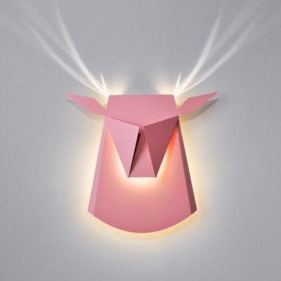 Wall Light Deer Head   Aluminium   Pink