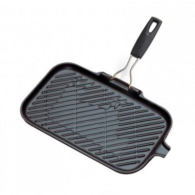 Rechteckige Gusseisen-Grillpfanne mit 1 Silikongriff | Schwarz
