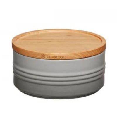 Dose mit Holzdeckel | 0,7 L | H 6 cm | Grau