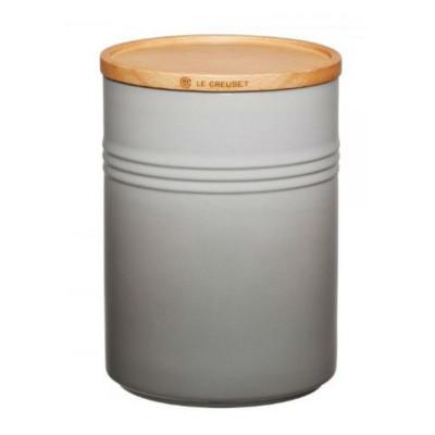 Dose mit Holzdeckel | 2,1 L | H 19 cm | Grau