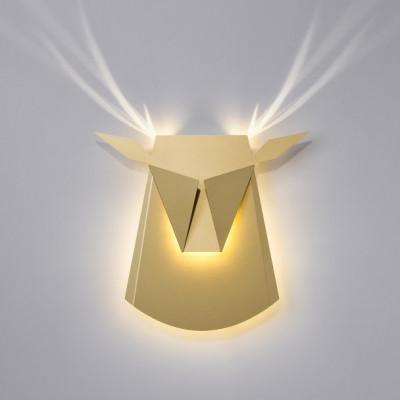 Wall Light Deer Head   Aluminium   Gold