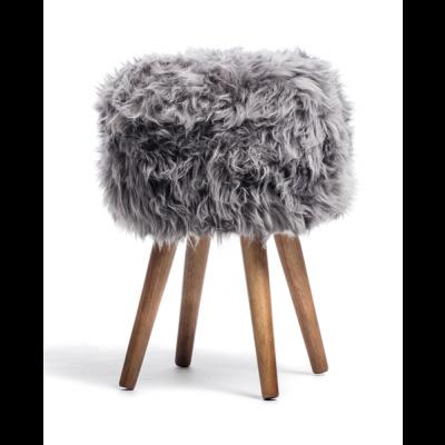 Neuseeländischer Schafsfell-Hocker   Grau