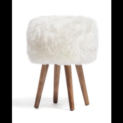 Neuseeländischer Schafsfell-Hocker   Weiß