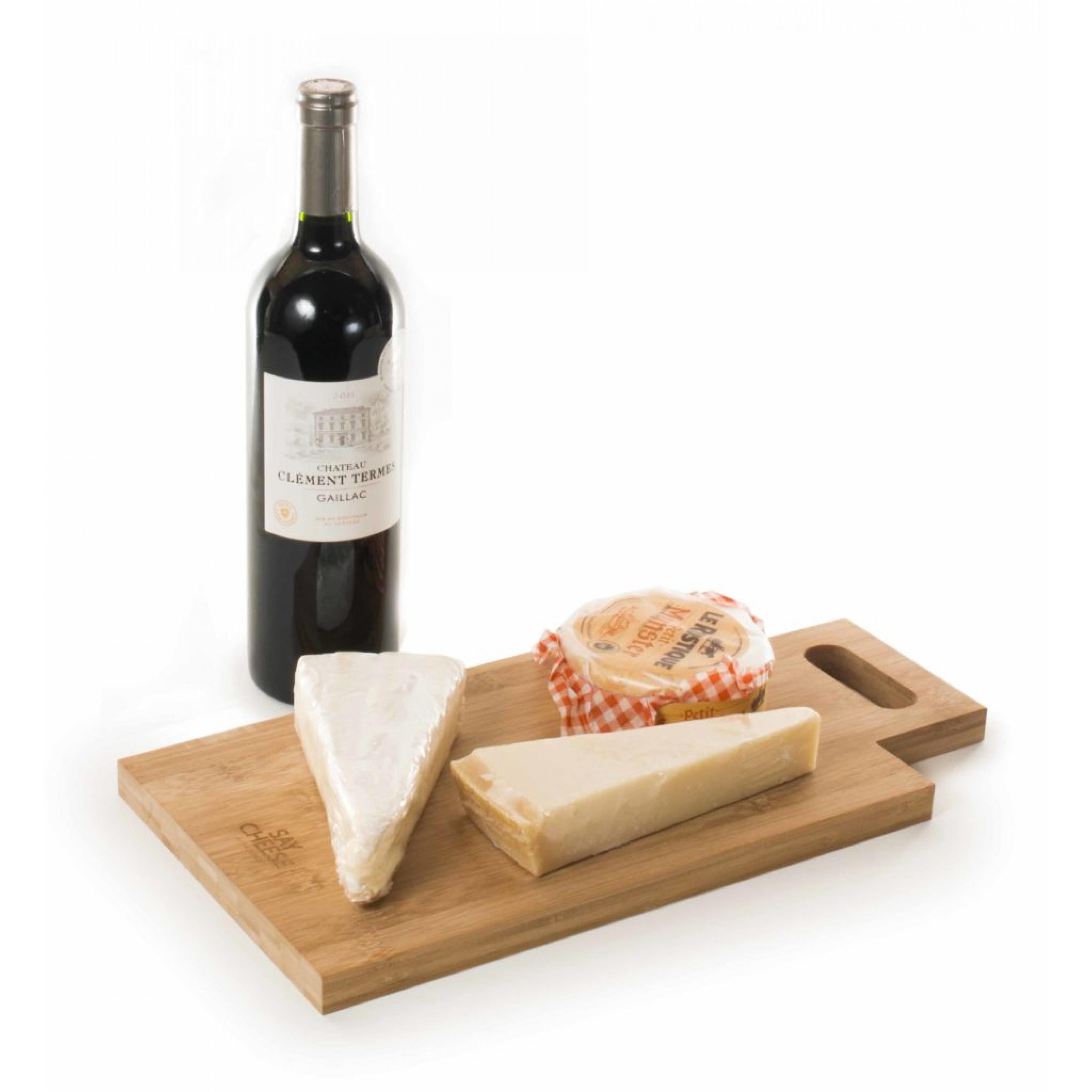 2-in-1-Weinkiste & Käsebrett sagen Käse