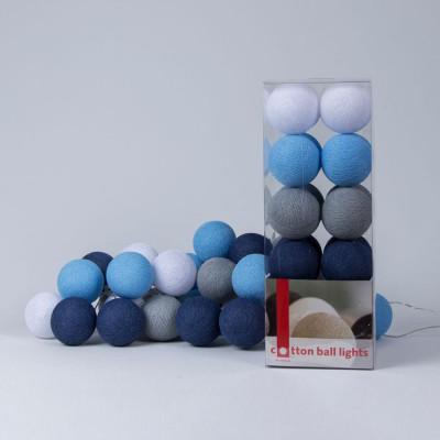 Cotton Ball Light String | Sailor Blue