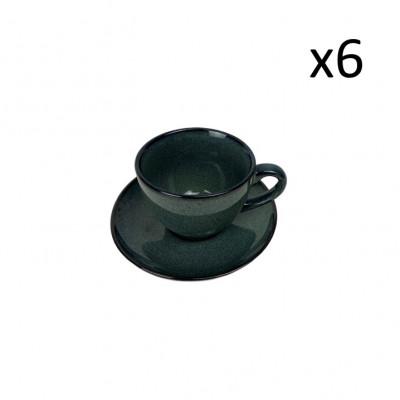 Tasse mit Schüssel Habuza 18 cl 6er-Set | Blau