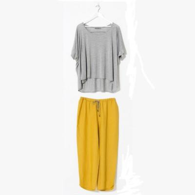 Söve Pyjama Set | Grau & Gelb