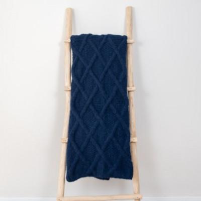 Marsipan Plaid 130 x 156 cm | Alpakawolle dunkelblau