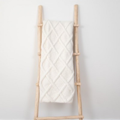 Marsipan Plaid 130 x 156 cm | Alpakawolle weiß