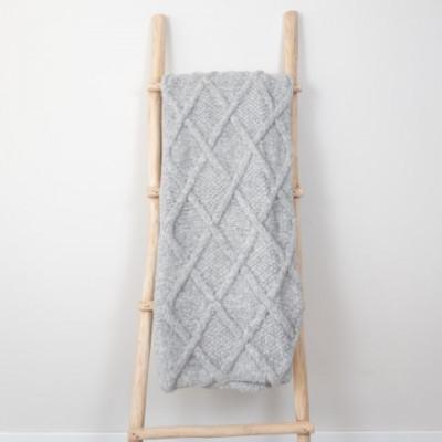 Marsipan Plaid 130 x 156 cm | Alpakawolle grau
