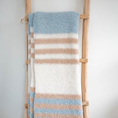 Carmella Plaid 150 x 162 cm | Alpakawolle blau und weiß