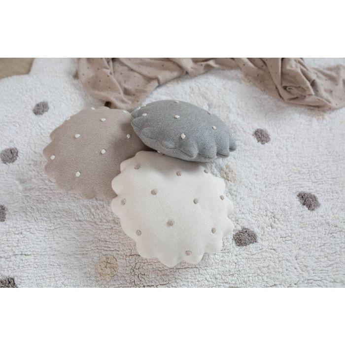 Rundes Kissen | Biskuit | Grau