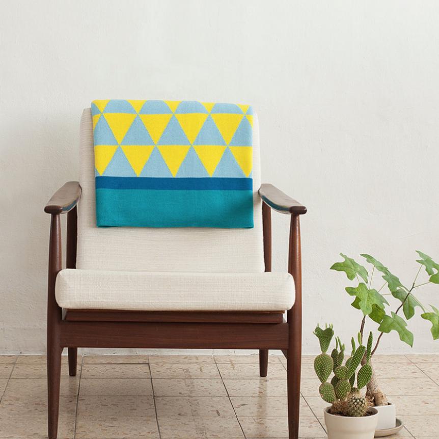 Blanket   Aqua/Lemon/Baby Blue