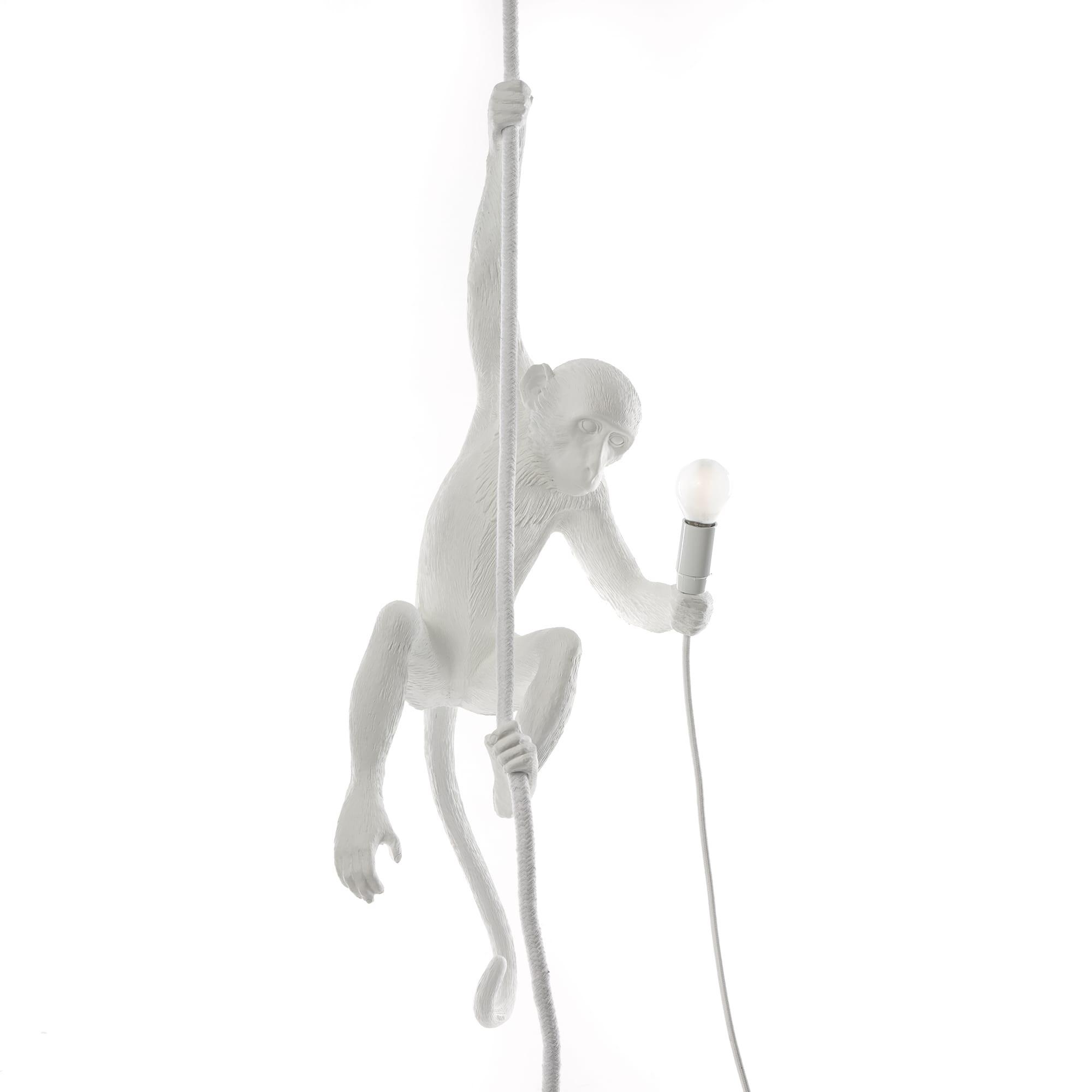 Lampenaffe mit Seil | Weiß
