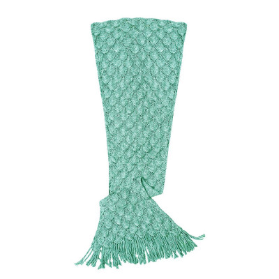 Knit Mermaid Tail Blanket (Womens / Teen)   Seafoam