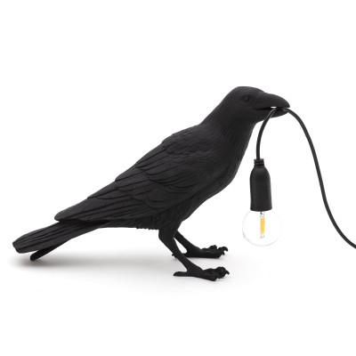 Lampe Vogel Warten | Schwarz