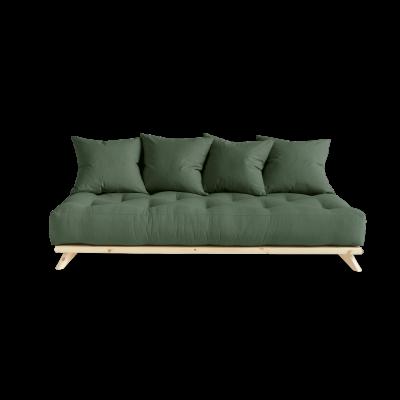 Sofa Senza | Natural Frame + Olive Green Mattress