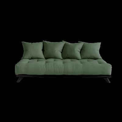 Sofa Senza | Black Frame + Olive Green Mattress