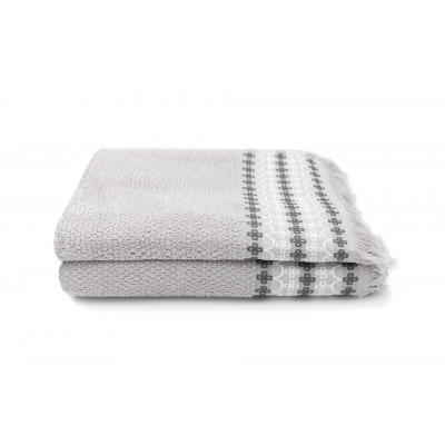 Set of 2 Guest Towels Kendall 30 x 50 cm | Silver
