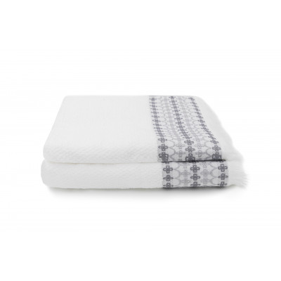 Set of 2 Guest Towels Kendall 30 x 50 cm  | White