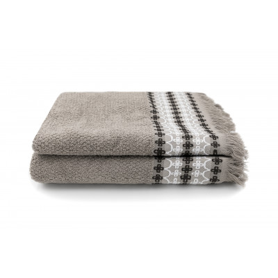 Set of 2 Towels Kendall 50 x 100 cm | Taupe