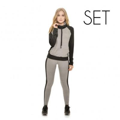 Set (Sweatshirt + Sport Top + Legging) | Black & Grey