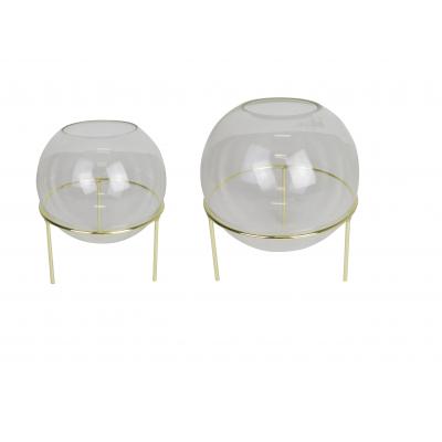 Kugelvase mit goldenen Details 2er-Set Small + Large
