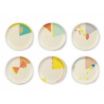Set of 6 Cake Plates   Printed