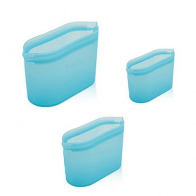 Set mit 3 wiederverwendbaren Boxen Fudy Bowl | Blau
