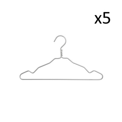 Set of 5 Clothes Hangers | Silver