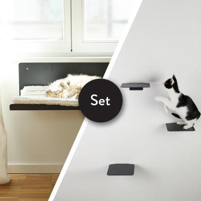 Kletterstufen Katzen STRAIGHT + Satz von 3 STEPS | Anthrazit