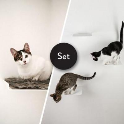 Kletterstufen Katzen STRAIGHT + Satz von 3 STEPS | Weiß
