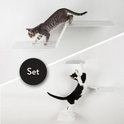 Kletterstufen Katzen WAVE + Satz von 3 STEPS | Weiß