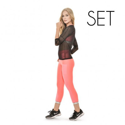 Set (Blouse + Sport Top + Legging) | Neon Coral