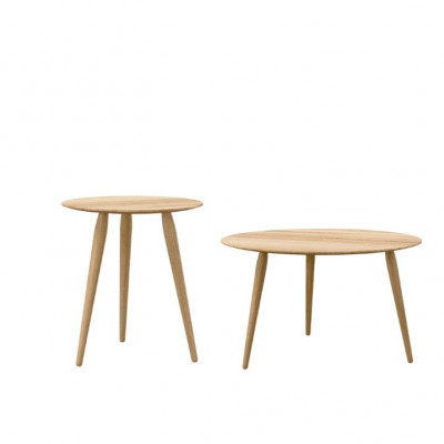 Set of 2 Coffee Tables PLAYround Ø 75 + 52 | Natural Oak