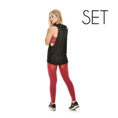 Set (Blouse + Sport Top + Legging) | Wine Red
