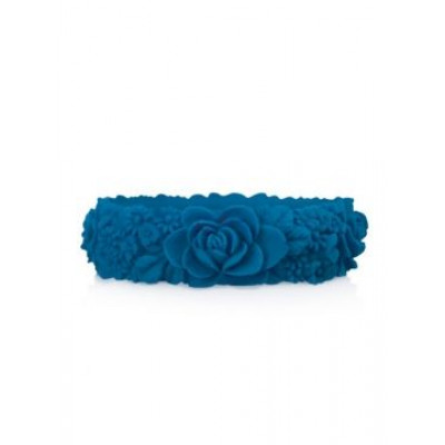 Großes Blumenarmband   Capri Blau