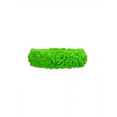 Großes Blumenarmband   Neongrün