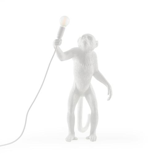 Lamp Monkey Standing | White
