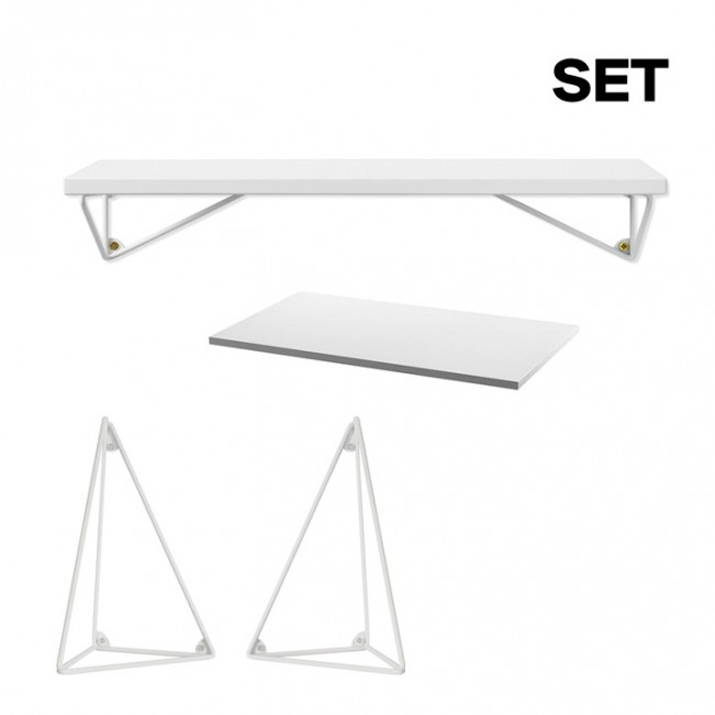 Set Schreibtischplatte Pythagoras | Weiß