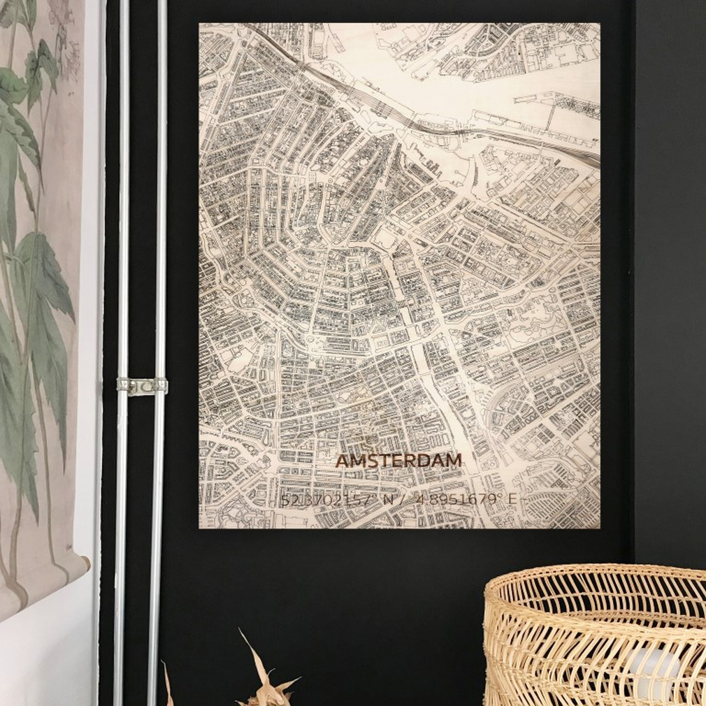 Wooden Wall Decoration | City Map | Amsterdam-70 x 50 cm