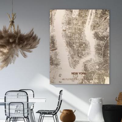 Holzwanddekoration | Stadtplan | New York