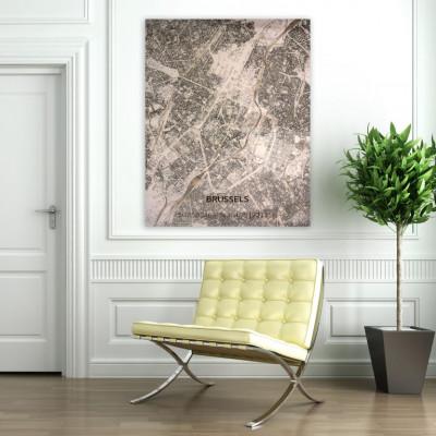 Holzwanddekoration | Stadtplan | Brüssel
