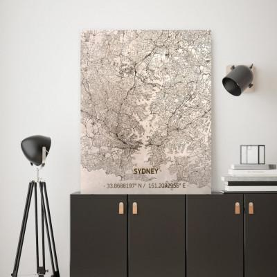 Holzwanddekoration | Stadtplan | Sydney