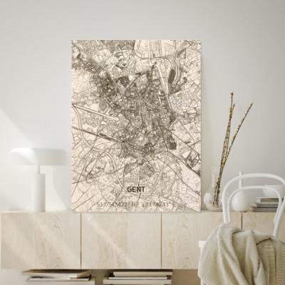 Holzwanddekoration | Stadtplan | Gent