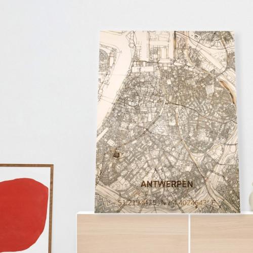 Wooden Wall Decoration | City Map | Antwerpen-70 x 50 cm