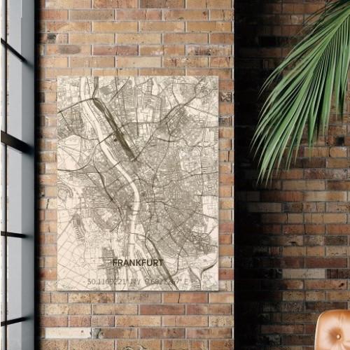 Wooden Wall Decoration   City Map   Frankfurt-70 x 50 cm