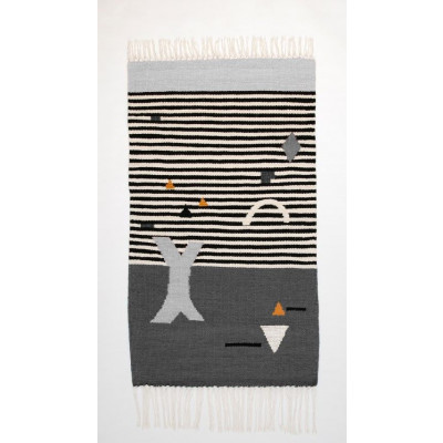 SHAPES ON STRIPES Kilim Rug | Grey